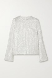 Galvan Sequined Metallic Tulle Top White