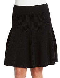 424 Fifth Wool Flared Sweater Skirt Black