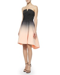 Halston Strapless Structured Ombre Party Dress Black Glow
