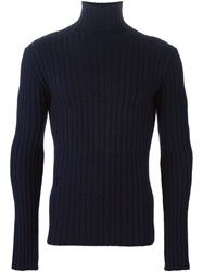 Ann Demeulemeester Roll Neck Ribbed Sweater Blue