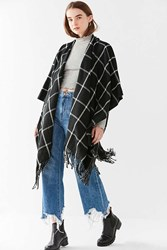 Urban Outfitters Plaid Poncho Black