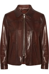 Prada Leather Jacket Dark Brown