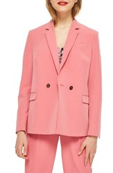 Topshop Longline Double Breasted Button Suit Jacket Pink