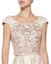 Kay Unger New York Cap Sleeve Beaded Cropped Top Ivory Gold