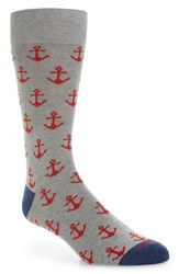 Lorenzo Uomo Anchors Crew Socks Medium Grey