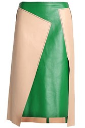 Dkny Asymmetric Two Tone Leather Skirt Beige