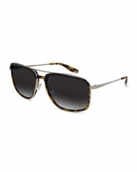 Barton Perreira Men's Magnate Polarized Rectangular Aviator Sunglasses Black Amber Tortoise Silver Nightfall