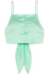 Nanushka Cora Cropped Tie Detailed Hammered Satin Top Mint