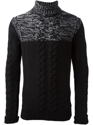 Diesel Black Gold Cable Knit Turtleneck Sweater
