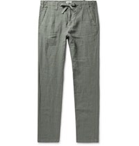 Hartford Troy Slim Fit Linen Drawstring Trousers Army Green