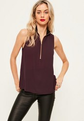 Missguided Purple Ribbed Neck Zip Front Chiffon Cami Top Plum