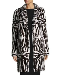 Valentino Intarsia Mink Fur Coat Brown White Brown White