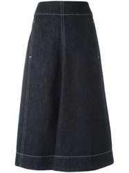 Christophe Lemaire High Rise Denim Skirt Blue