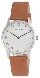 Pilgrim Silver Plated With Brown Watch Brown
