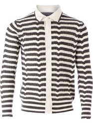 Side Slope Striped Cardigan Grey