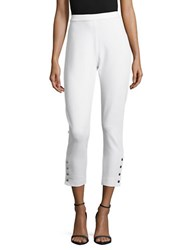 Joan Vass Buttoned Cropped Pants White