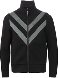 Hydrogen Contrasting Panels Zipped Sport Jacket Black