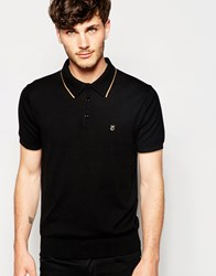 Peter Werth Knitted Polo Shirt With Tipped Collar Black