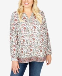 Lucky Brand Trendy Plus Size Printed Peasant Blouse Natural Multi