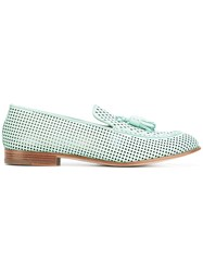 Fratelli Rossetti Perforated Slippers Women Leather 38.5 Blue