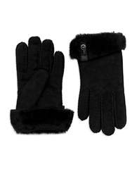 Ugg Leather Trim And Shearling Cuff Tenney Gloves Black