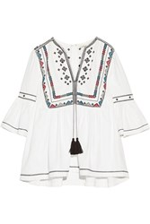 Talitha Embroidered Cotton Blouse Ivory