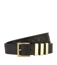 Balmain Quilted Leather Belt Unisex Black