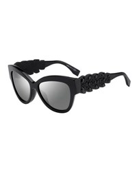 Fendi Rhinestone Trim Cat Eye Sunglasses Black
