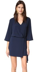 Halston V Neck Dress With Overlay And Ties Navy