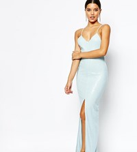 Naanaa All Over Sequin Dress With Cross Back Pale Blue