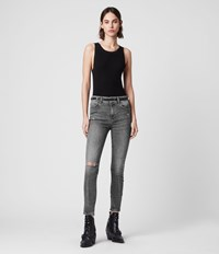 Allsaints Miller Cropped Mid Rise Superstretch Shaping Skinny Jeans Washed Grey