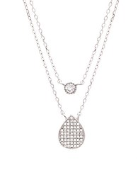 Lord And Taylor Sterling Silver And Cubic Zirconia Layered Necklace
