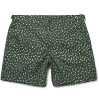 Dolce And Gabbana Slim Fit Mid Length Printed Swim Shorts Green