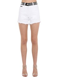 Philipp Plein Denim Shorts W Crystal Logo Waistband White