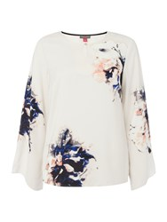 Vince Camuto Floral Printed Chiffon Blouse Cream