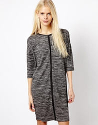Esprit Salt And Pepper Knit Front Dress Multi