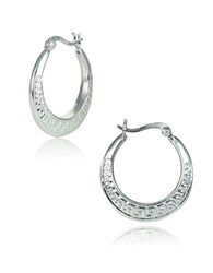 Lord And Taylor Sterling Silver Aztec Hoop Earrings