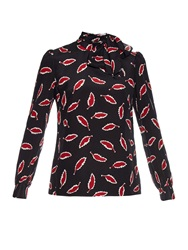Red Valentino Leaf Print Silk Crepe Blouse