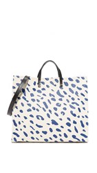 Clare V. Canvas Simple Tote Natural Navy Jaguar