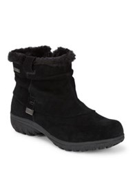 Khombu Bonnie Faux Fur Trimmed Suede Booties Black