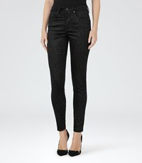 Reiss Helvin Snake Womens Velvet High Rise Skinny Jeans In Black