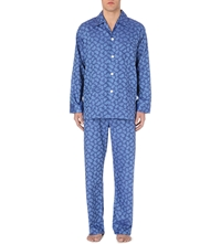 Derek Rose Tonal Paisley Cotton Pjyama Set Blue