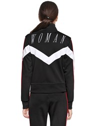 Off White Woman Embroidered Zip Up Track Jacket Black White