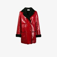 Christopher Kane Patent Leather Coat With Shearling Lining Red
