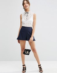 Asos Linen Short With Ruffle Navy