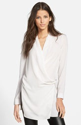 Astr Long Sleeve Wrap Tunic Blouse Ivory