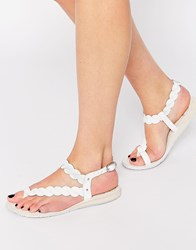 Bronx Weave Leather Flat Sandals White