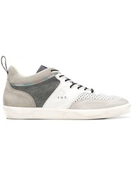 Leather Crown Panelled Colour Block Sneakers White