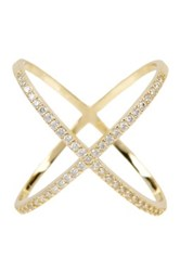 18K Yellow Gold Plated Sterling Silver X Cz Accented Ring