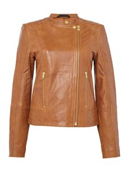 In Wear Collarless Leather Jacket Brown